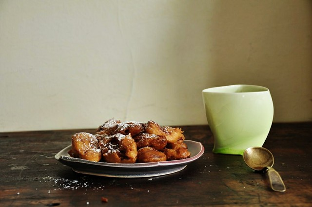 Banana Fritters with Boozy Coffee Sauce