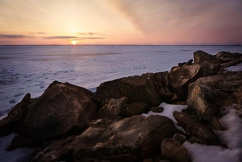 winter sunset sky sun lake snow clouds finland stones shore hdr joensuu pielinen
