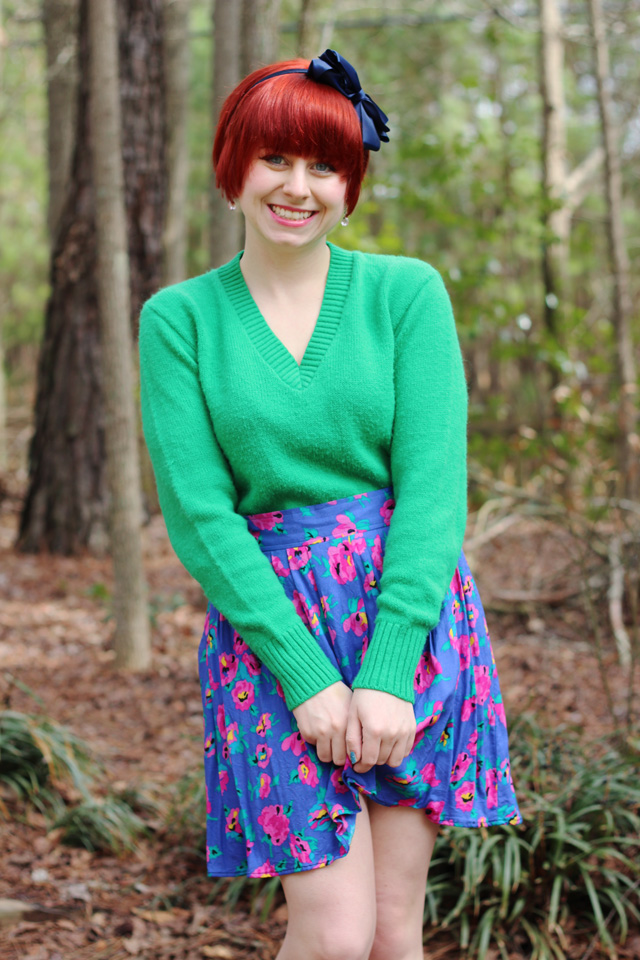 Kelly Green 60s Sweater Colorful Vintage Floral Skirt