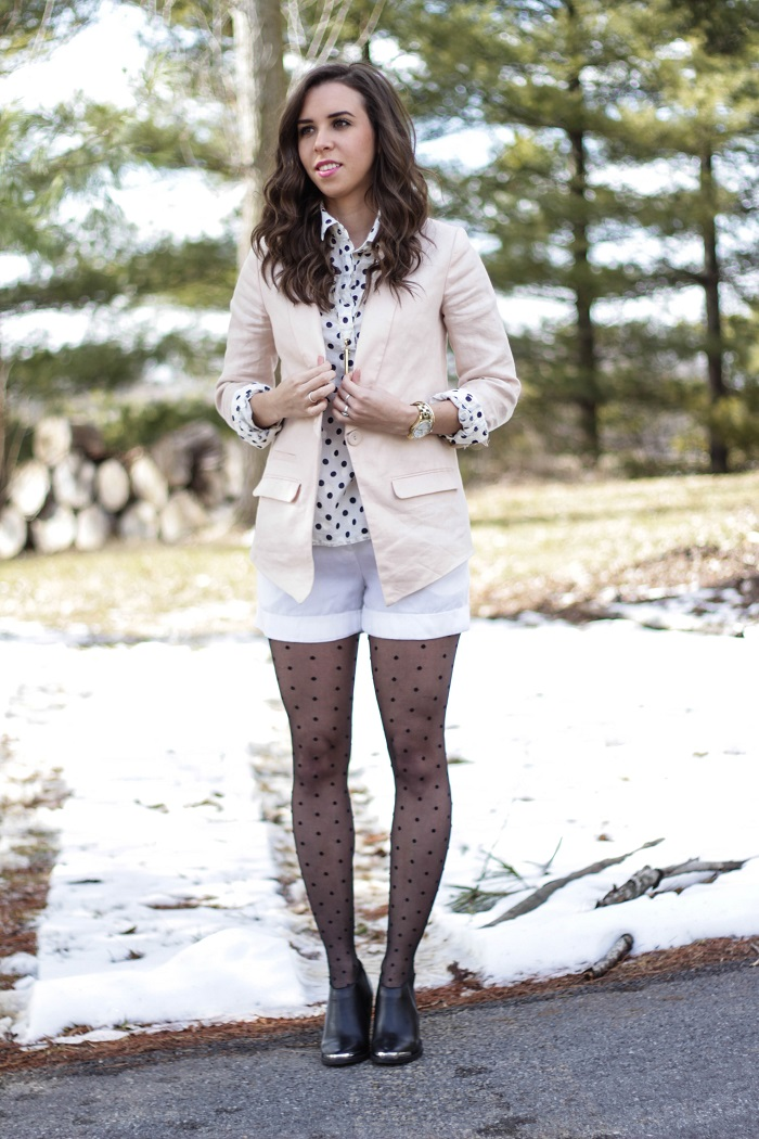 va darling. dc blogger. virginia personal style blogger. dc style.  polka dotted top. polka dotted tights. pink linen blazer. white shorts. black ankle booties. 5