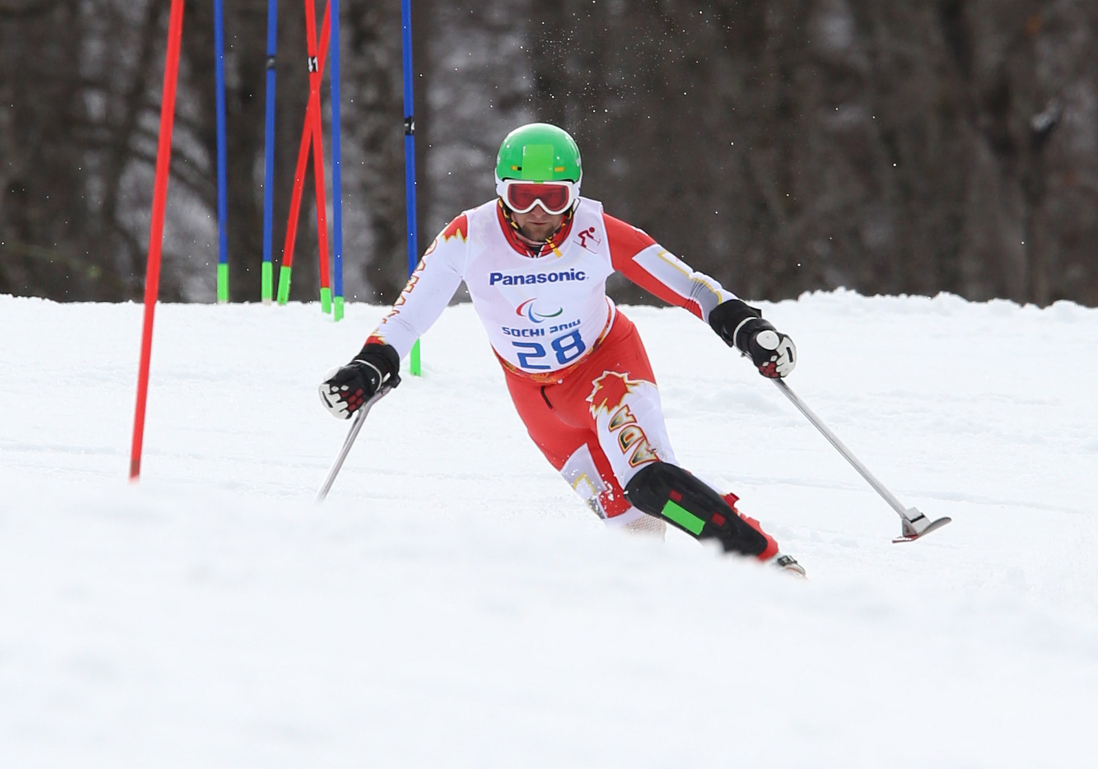 Matt Hallat competes in the slalom at the 2014 Paralympic Winter Games