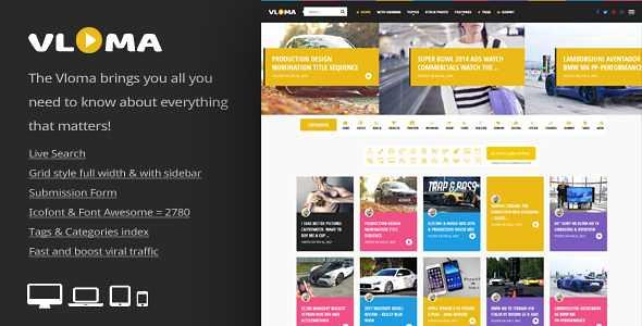 Vloma Grid WordPress Theme free download