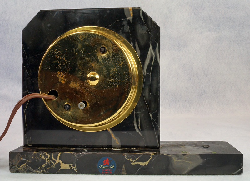 RD15359 Vintage Brunswick Electric Sessions Brass and Imported Marble Trophy Clock DSC09239