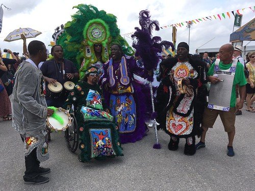 Mardi Gras Indians on parade at Day 1 Jazz Fest - April 28, 2017