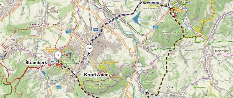 3. trasa z Kopřivnice přes Hukvaldy – 29 km (propozice + mapa)