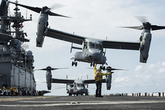 U.S. Marine Corps MV-22B Ospreys take off from the flight deck of USS Makin Island (LHD 8) during operations in the South China Sea, April 12. (U.S. Navy/MC3 Devin M. Langer)