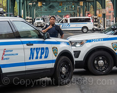 NYPD Police Officer with Patrol Vehicles near Yankee Stadium, The Bronx, New York City