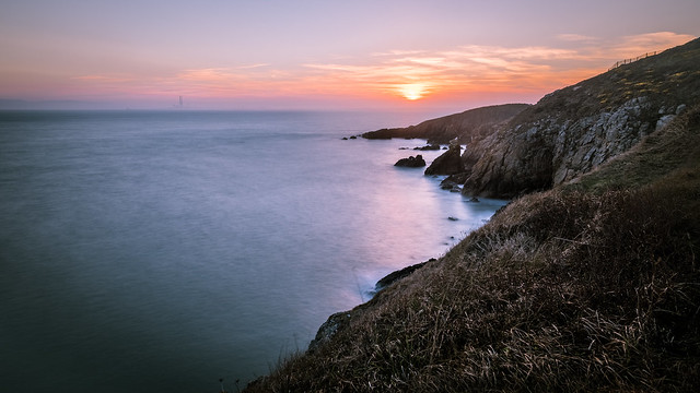 Sunset in Howth Cliff path - Dublin, Ireland - Seascape photography