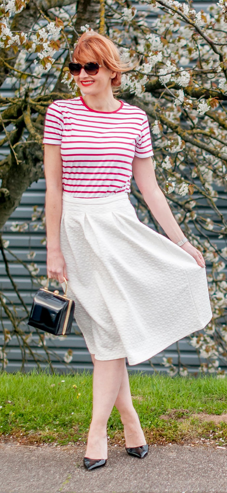 Perfect spring outfit: Red Breton stripe t-shirt  white full midi skirt  black d'Orsay patent heels  tortoiseshell sunglasses  black box handbag | Not Dressed As Lamb