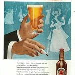 Wed, 2017-04-26 13:26 - The name of Bass - and the town it sprang from, Burton on Trent in Staffordshire - was once synonymous with beer. This very 1950s advert shows the importnace that bottled beer once had to the trade and harks back to an age when bottled beer was very common in homes and brewers attempted to link 'fine' beer with social occassions on a par with wine. Red Triangle was the common label for Bass's pale ale - and was unfiltered, so pour with care. The red triangle was the company's trademark and was, arguably, the first registered trademark in the UK and became world famous as a shortcut for good beer. It is amazing to think that over the last few years the ancient company of Bass, Ratcliff and Gretton, along with their beer has as good as vanished. The brewery owned by one multi-national, the trademark by another. No longer can we really say, as the strapline used to say, 'Great Stuff this Bass'. Some wags would advise to drop the first word.