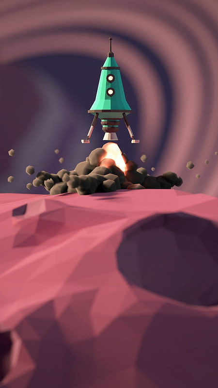 Low Poly Rocket iOS Wallpaper