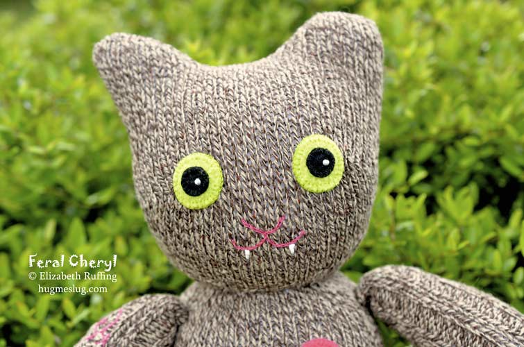Feral Cheryl sock cat, original art toy by Elizabeth Ruffing