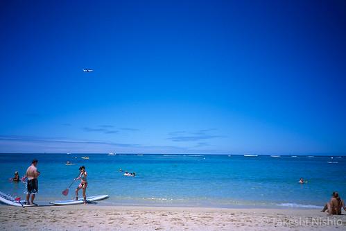 ハワイへの到着便を眺める / Seeing arrival airplanes