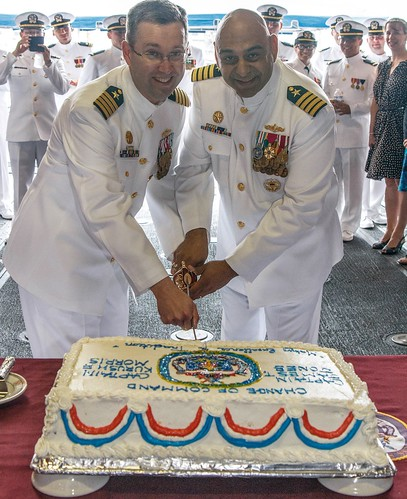 Capt. James T. Jones turned over command of the warship to Capt. Kurush F. Morris