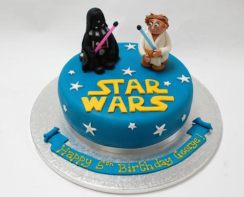Outstanding Star Wars Cake Darth Vader And Luke Skywalker Beautiful Birthday Cards Printable Trancafe Filternl