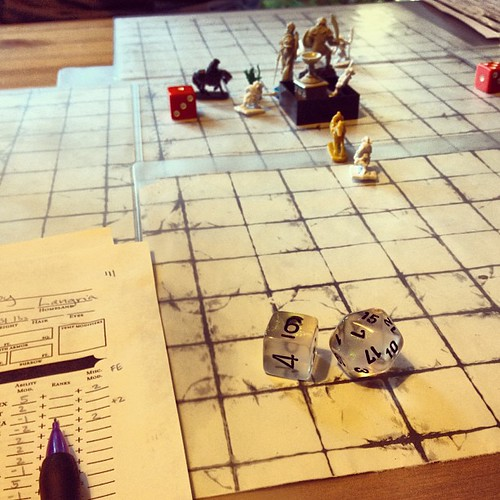 You may not be able to tell at first glance, but this is an epic midnight battle pitting a cleric, a warrior and a half-ling against 5 gnolls and hyena.