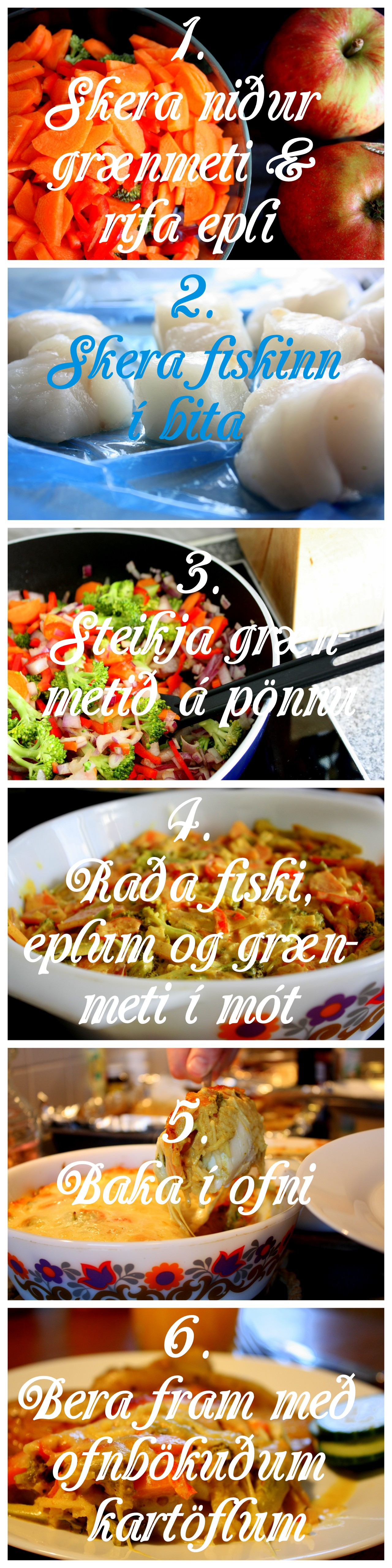Ofnbakaður fiskur í grænmeti og karrý