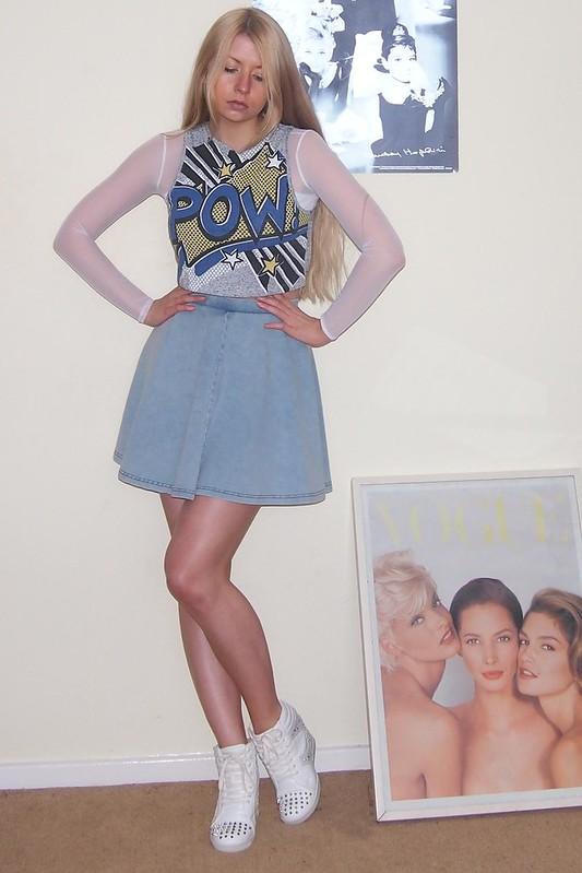 Topshop, Denim Mini Skirt, Circle Skirt, American Apparel Dupe, Primark, Crop Top, Cartoon Print, Wedge High-Tops, Hi-Tops