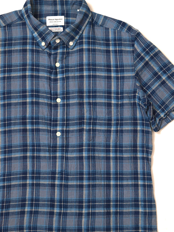 Manual Alphabet / Indigo Check S/S Pullover Shirt
