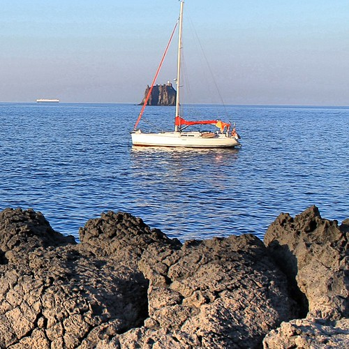 #Stromboli and my #boat at #anchor by Nouhailler
