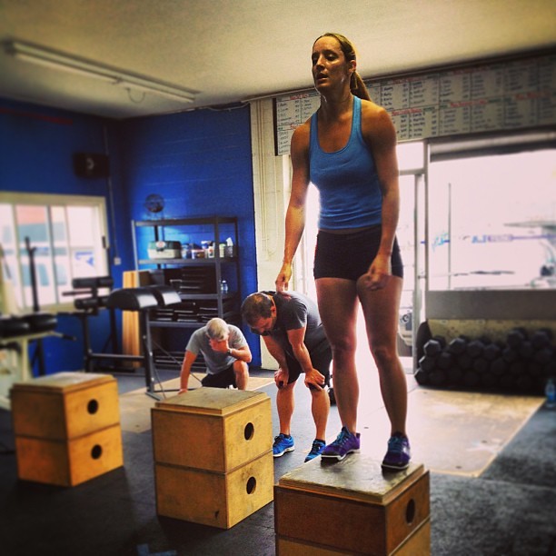"The ""AMRAP 666"" was rough , but that didn't stop Ann Marie. #crossfit #boxjumps #killerwod"