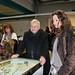 Vernissage: Duccio Campagnoli, Presidente di Bologna Fiera, sul flipper di Giuseppe Stampone assieme ad Alice Zannoni