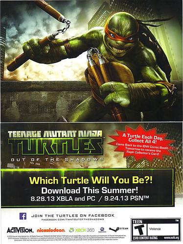 """TEENAGE MUTANT NINJA TURTLES : OUT OF THE SHADOWS"" //   SDCC ""Michelangelo"" Collector's card  (( 2013 ))"
