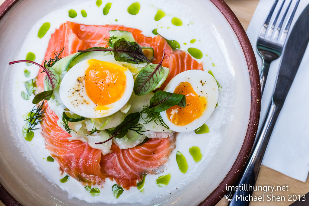 Citrus cured salmon - split dill cream, apple, celery, cucumber, fennel, soft boiled egg w/brioche devon cafe