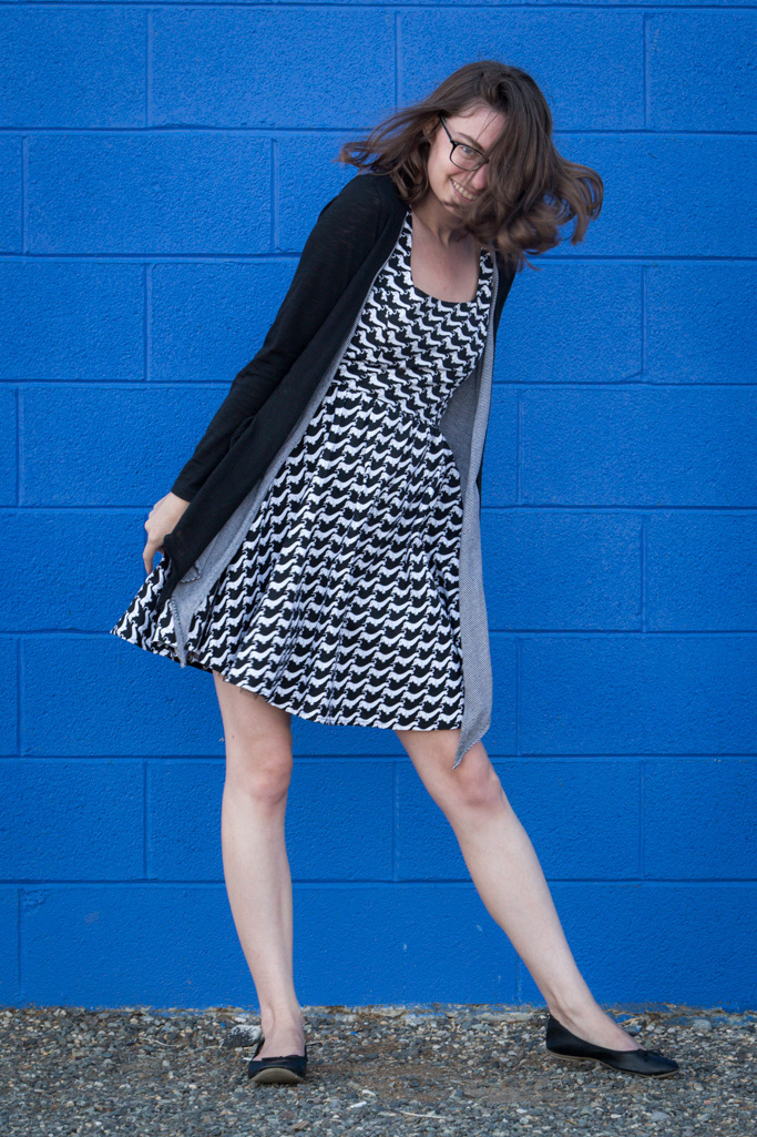 Houndsooth dress, dachshund, dress, modcloth, animal print, print dress, black and white outfit,
