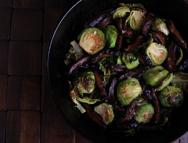 Roasted Brussels Sprouts with Shiitake Bacon