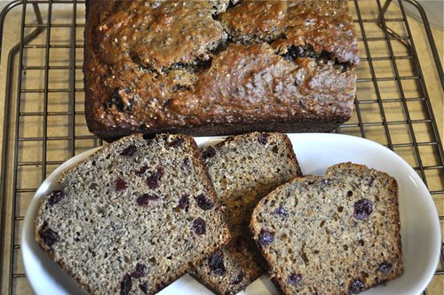 banana bread with olive oil sliced