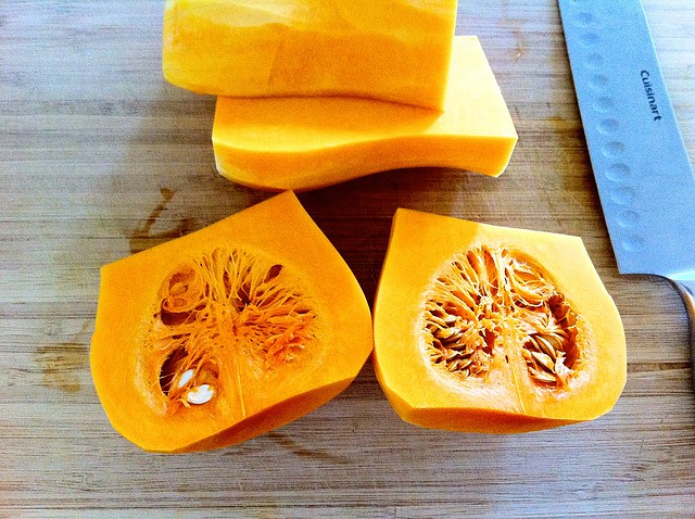 Butternut Squash Halves with Seeds