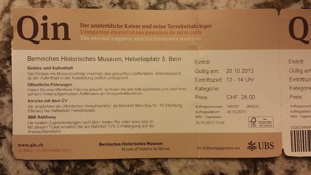 Eintrittsbillette für die Qin-Ausstellung