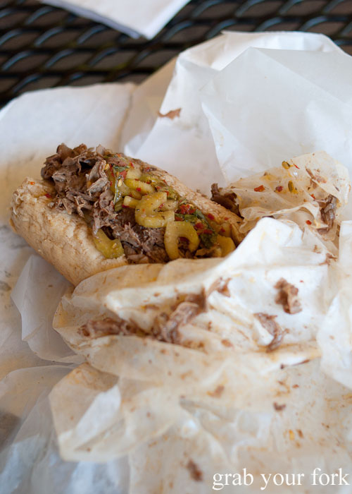 Italian beef hot peppers sweet peppers Al's Italian Beef Chicago Illinois