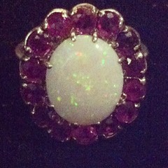 Vintage Gold, Solid White Opal and Ruby CocktaIl Ring  http://bit.ly/1iyOJNA #vintagestyle #ring #ruby #opal #gold #cocktail #style #sparkle