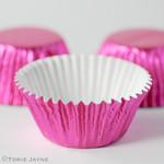 Cerise pink foil cupcake cases