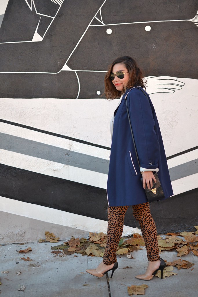 Spicy Candy DC, Leopard Print Trousers, Blue Trench Coat 052