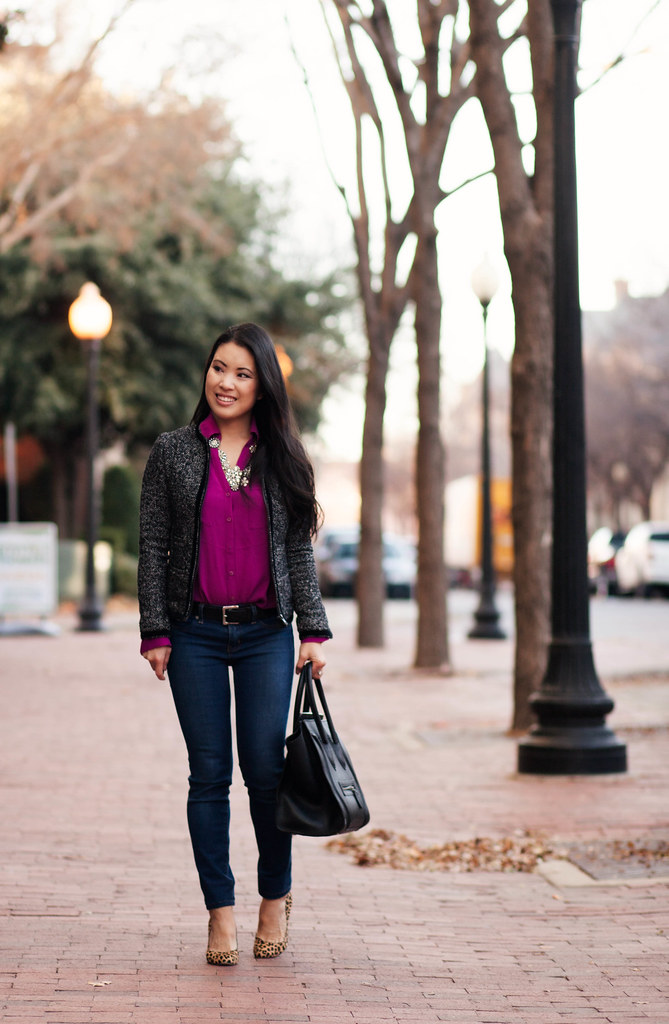 cute & little blog | tweed jacket, radiant orchid shirt, skinny jeans, leopard pumps, crystal cluster necklace, celine outfit