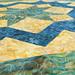 238_Navy Landscape Batik Gold Table Topper_o