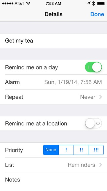 Reminders alarm time
