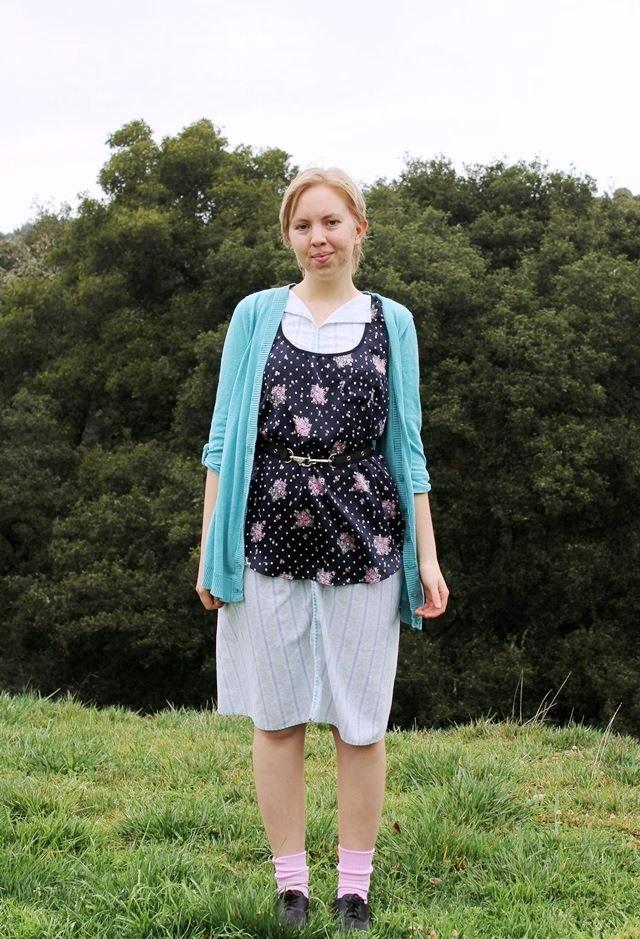 baby blue cardigan, silky black floral tank top, handmade house dress