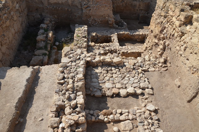 Foundations of the Canaanite Migdol Temple, originally constructed around 1650 BC during the Middle Bronze age with two major rebuilds; the first in 1350 BC during the Late Bronze age and the second in 900 BC, Pella, Jordan