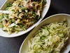 Sugar Snap Salad with Miso Dressing and Vinegar Slaw with Cucumbers and Dill