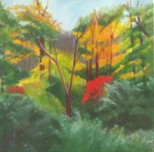 Red Leaves in the Woods (Oil Bar Painting as of June 7, 2013) by randubnick
