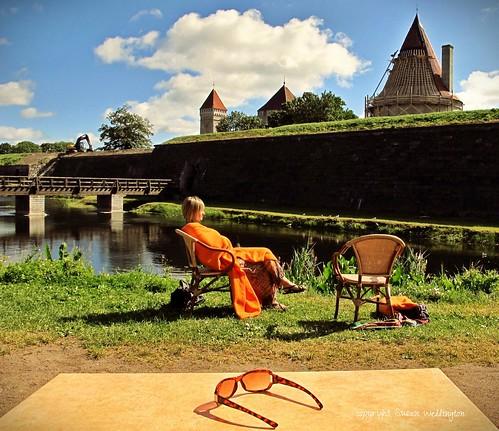 Coffee in the sun at the Opera Days, Kuressaare Castle, Saaremaa, Estonia by sawelli
