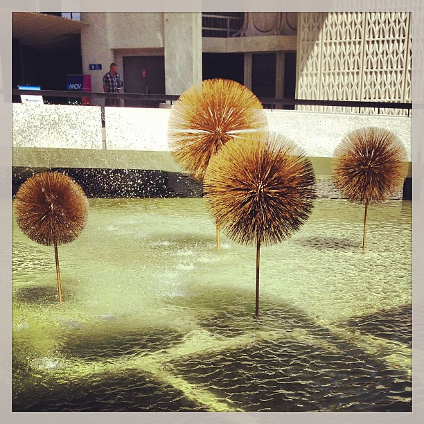 #Tomorrowland #movieset Some spiky ball things in the fountain where the crab usually resides  #yvr