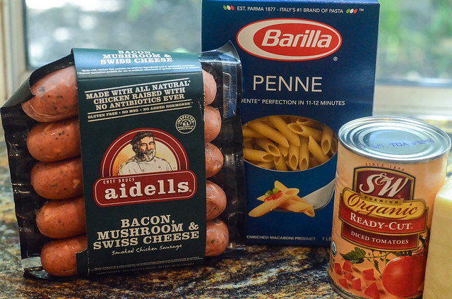The main ingredients required to make Skillet Sausage Pasta.