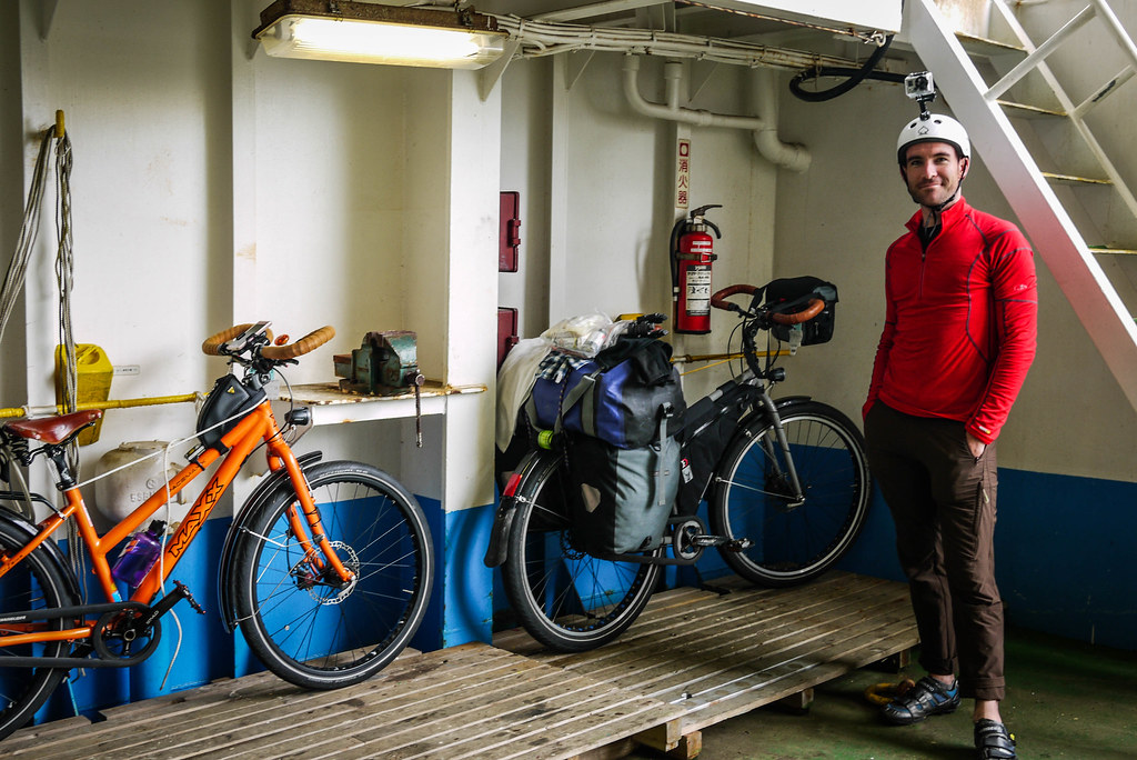 Bicycles on the on the ferry from Wakkanai to Rishiri Island, Hokkaido, Japan