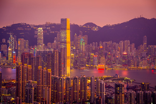 sunset hongkong cityscape dusk kowloon beaconhill