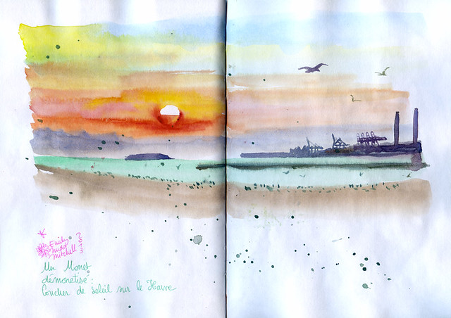 Normandy Holidays Homework #5 - Denis Beaux Art, enjoying ! Sunset at le Havre